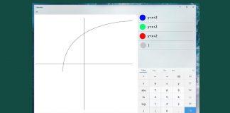 Graphing Mode របស់កម្មវិធីគិតលេខរបស់ក្រុមហ៊ុន Microsoft (Calculator) នៅលើ Windows 10។