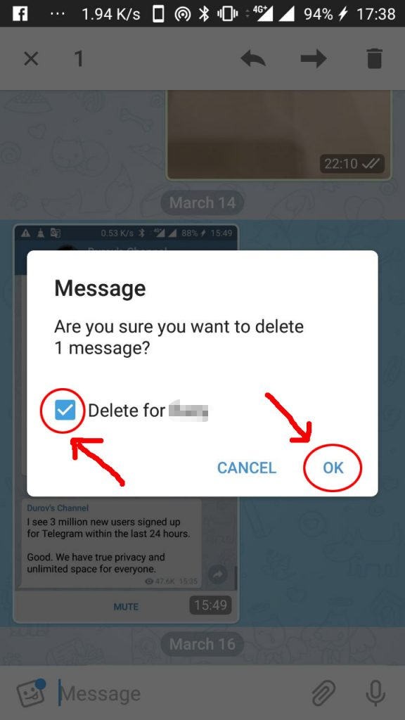 វិធីលុបសារគ្រប់ភាគីពាក់ព័ន្ធក្នុងកម្មវិធី Telegram Messaging។