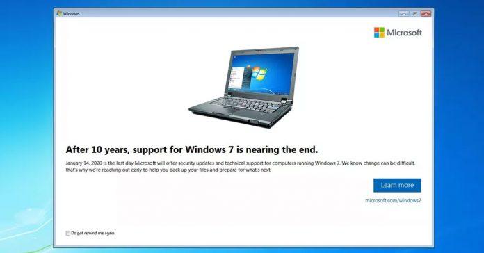 ផ្ទាំងជូនដំណឹងរបស់ក្រុមហ៊ុន Microsoft អំពីថ្ងៃបញ្ចប់ការគាំទ្រប្រព័ន្ធប្រតិបត្តិការ Windows 7។