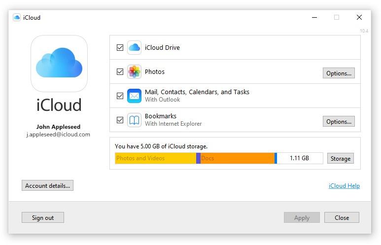 iCloud App for Windows 10